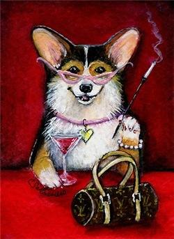 Cosmopolitan Corgi Pembroke Welsh Corgi Dog Art Gi