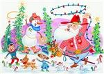 Cowboy Santa and Snowman
