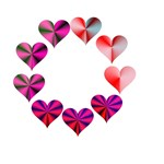 Circle of Crystal Pink Hearts