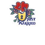 Locked Hearts Just Married T-Shirts