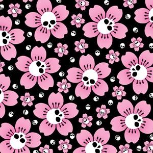 Skull Pink Blossoms