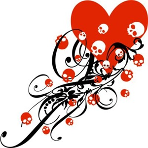 Heart With Skulls And Swirls