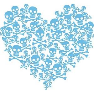 Blue Skull Heart