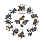 Cats and Dogs Clock (Brindle)
