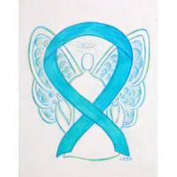 Turquoise Blue Awareness Ribbon Angel