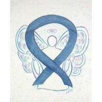 Denim Dark Blue Awareness Ribbon Angel