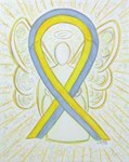 Yellow and Gray Awareness Ribbon Angel