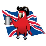 Red Pirate Parrot and a Union Jack
