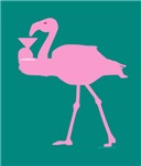 Pink Flamingo With Martini On Teal