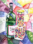 Wine and Candy Watercolor