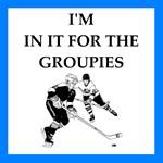 Hockey joke on gifts and t-shirts.