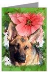 German Shepherd & Poinsettia