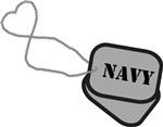 Navy Heart Dog Tag