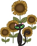 Sunflower Black Cat