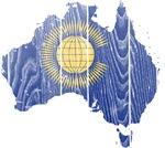 Australia Commonwealth Flag And Map