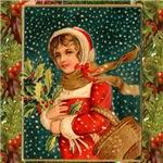 Christmas Girl with Holly