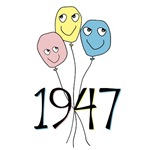 1947 colored birthday balloons 60th birthday humor