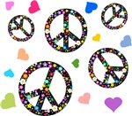 Peace signs and hearts pattern