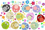 Cute Cartoon Owls and flowers pattern