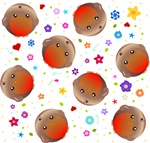 Robins and Flowers Pattern
