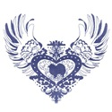 American Eskimo Blue Winged Heart