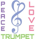 Peace Love Trumpet Music T-shirts