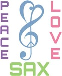 Peace Love Saxophone Music T-shirts