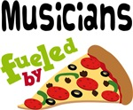 MUSICIANS Funny Fueled By Pizza Tshirts