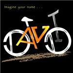 David orange and yellow bike on dark t-shirt