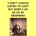 a funny liszt joke on gifts and t-shirts