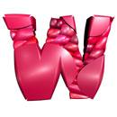 Pink Blancmange initial letter W monogram
