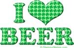 I Love (heart) Beer (green)