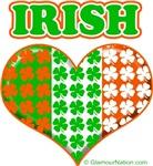 Irish Flag Heart Clovers