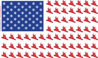Patriotic Snow Boarder American Flag