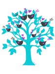 lovebirds sitting in a tree K-I-S-S-I-N-G