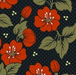 Vintage Red Black Floral Pattern
