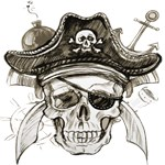 Pirate Skull Bomb Anchor Knives
