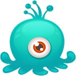 Cute Blue Green Octopus Monster One Eye