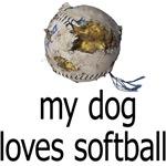 My dog loves softball