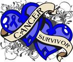 Colon Cancer Survivor Double Hearts Shirts