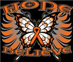 Hope Believe Multiple Sclerosis Butterfly Shirts