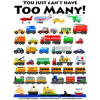 Cars, trucks, trains, planes, and boats!