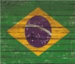Wooden Wall Brazilian Flag
