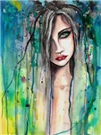 Face in Paint Abstract Woman in Watercolors