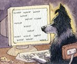 Border Collie dog writing on computer