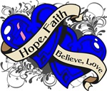 Male Breast Cancer Hope Faith Dual Hearts Shirts