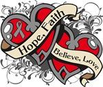 Brain Cancer Hope Faith Dual Hearts Shirts