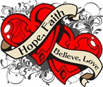 Blood Cancer Hope Faith Dual Hearts Shirts