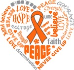 Kidney Cancer Heart Words Shirts