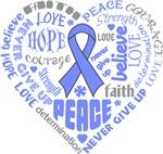 Intestinal Cancer Heart Words Shirts